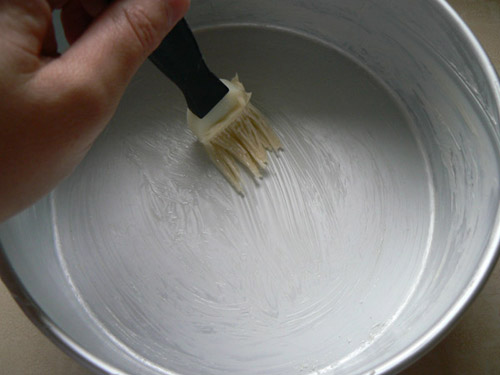 Grease and flour cake pan